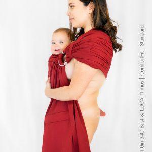 Maya Wrap Ring Sling ComfortFit Currant Shoulder