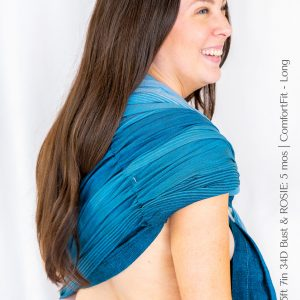 Maya Wrap Ring Sling ComfortFit Teal Ombre Shoulder